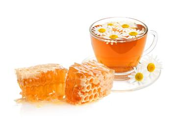 Herbal camomile tea and honey