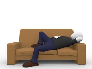 Man lying in the sofa