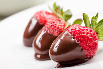 Strawberries with melted Chocolate