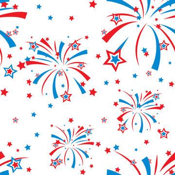 Festive fireworks display seamless background