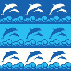 Deurstickers Dolfijnen seamless pattern with dolphins