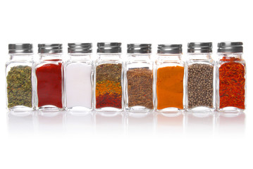 Eight jars of spices