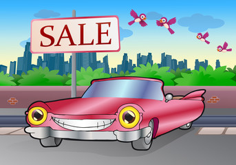 Photo sur Aluminium Voitures enfants pink cadillac sale