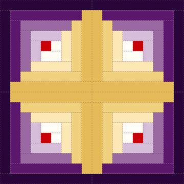 Quilt Block, Log Cabin Pattern, Barn Raising design variation