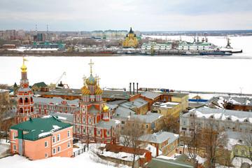 March snow view Nizhny Novgorod Russia