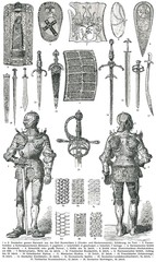 Knight's armor and weapons.