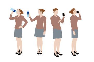 4 silhouettes de femme en train de boire