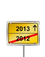 Ortsschild Silvester 2013 2012 Wegweiser