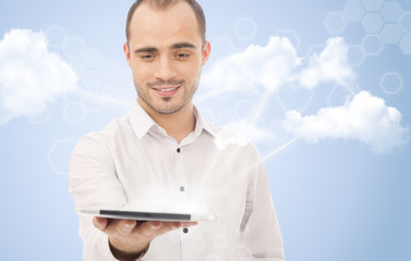 Cloud computing concept and business network. Businessman works