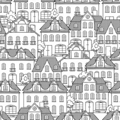 Seamless vector pattern with houses and trees.