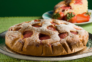 Homemade pie with strawberries