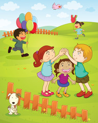 Poster de jardin Chiens Kids playing in the park
