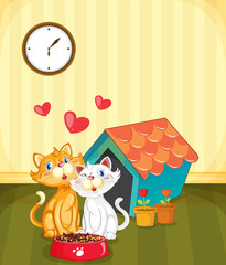 Fotorolgordijn Katten Kittens in love