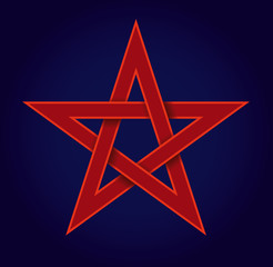 Red pentagram on blue background, also called pentalpha, pentangle or star pentagon. Shape of a five-pointed star, drawn with five straight strokes. Illustration on blue background. Vector.