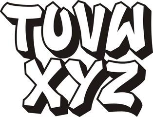 vector graffiti font alphabet (part 3)