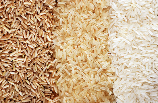 Three rows of rice varieties - brown, wild and white.