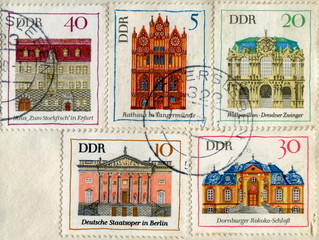 "Canceled german stamps ""Architecture of Germany"""