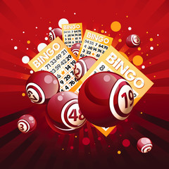Bingo or lottery balls and cards on red background