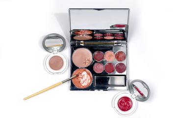 makeup set on white background