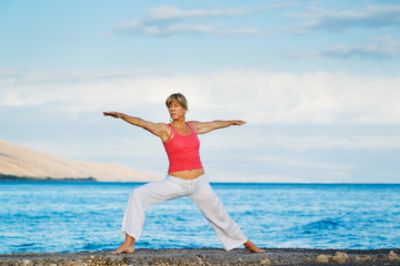 Beautiful Yoga woman Practicing Yoga by the Ocean