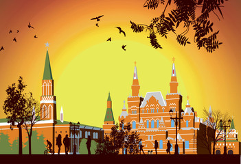 Tourists walk on Red Square in Moscow