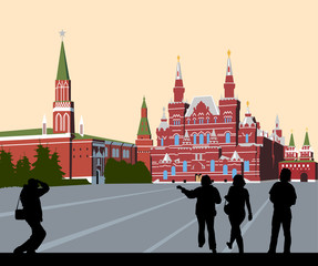 Tourists walk on Red Square