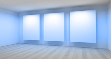 Empty gallery, 3d room