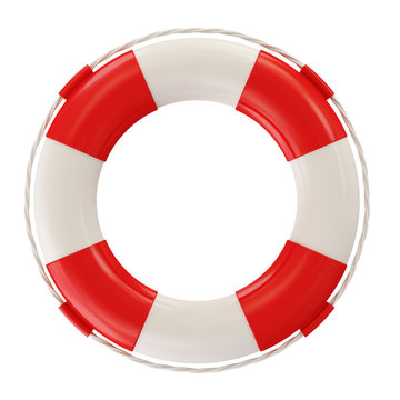 Red Lifebelt isolated on white background