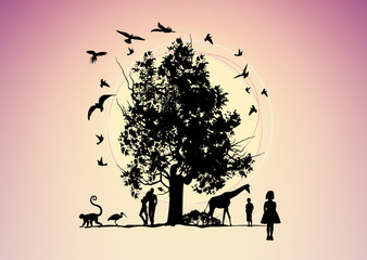 Fantastic picture with animals and people the tree