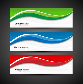 abstract colorful collection banners modern wave