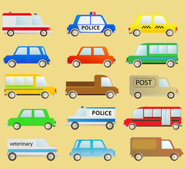 cartoon transport set with many isolated colorful urban cars