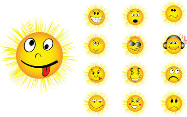 different faces of sun