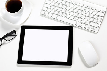tablet is in the office of a businessman