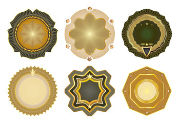 Set of vector gold-framed labels.