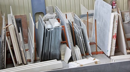 samples of various types of marble