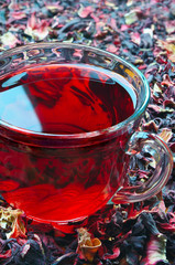 Cup of red Hibiscus tea