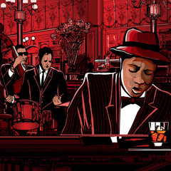 Wall Murals Art Studio piano-Jazz band in a restaurant