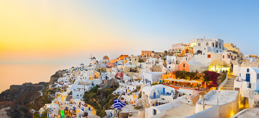 Aluminium Prints Santorini Santorini sunset (Oia) - Greece