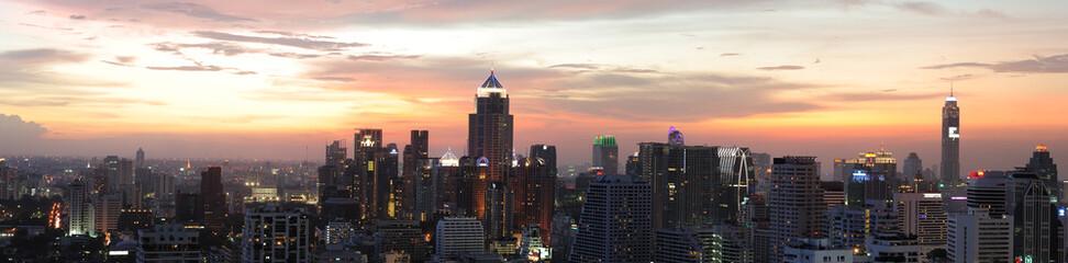 Canvas Prints Art Studio Night view of Bangkok from Asok area