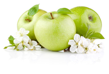Three Green Apples with Leaf and Flowers isolated on a white bac