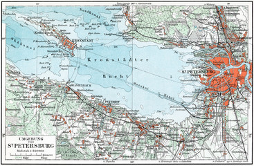 Map of St. Petersburg and the surrounding area, Gulf of Finland