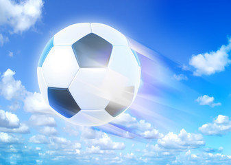 Goal. a soccer ball over blue sky background