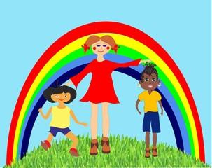 Fotorolgordijn Regenboog dzieci