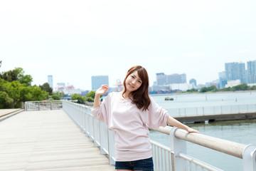 Beautiful young women of summer. Portrait of asian