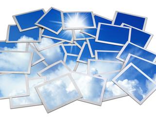photo frame with blue sky
