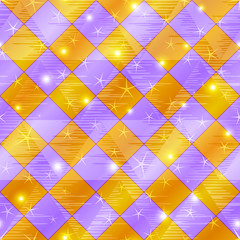 Abstract gold and lilac seamless plaid