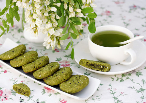 Green tea and cookies with powder matcha