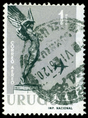 "Vintage  postage stamp. "" Flight"" from Monument to Fallen Aviato"