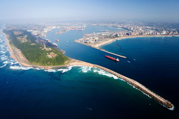 Poster Afrique du Sud overall aerial view of Durban, south africa