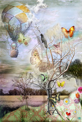 Photo sur Plexiglas Imagination BALLOON WITH CROW,BUTTERFLYES AND TREES